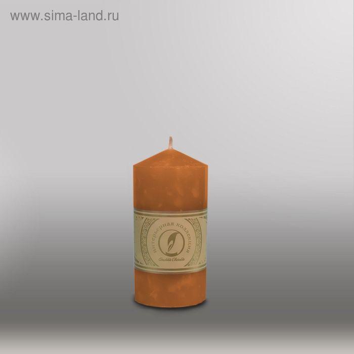"""Свеча цилиндр с конусом """"Мрамор"""", 70x127мм,  коричневый"""