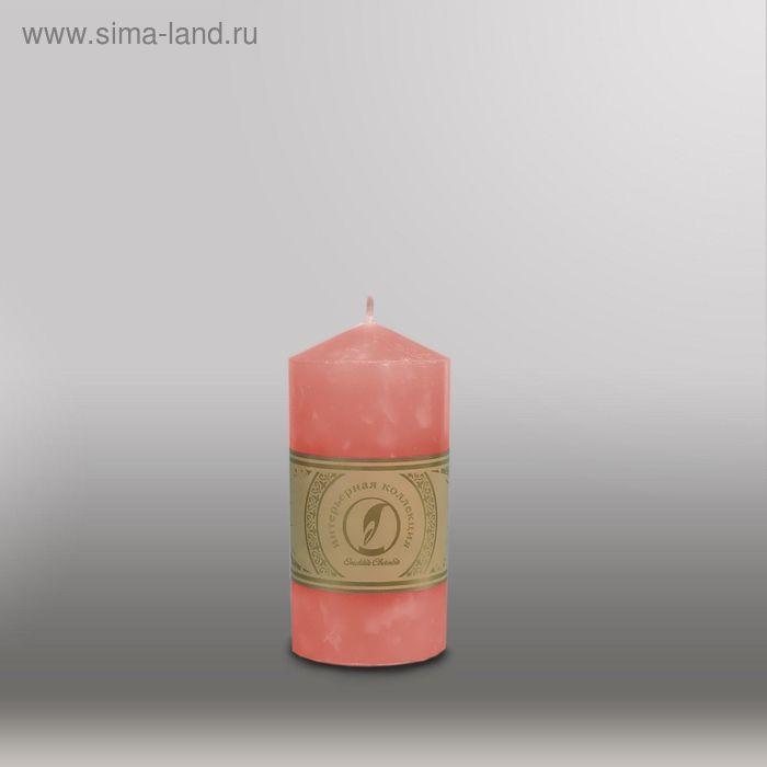 """Свеча цилиндр с конусом """"Мрамор"""", 70x127мм,  розовый"""