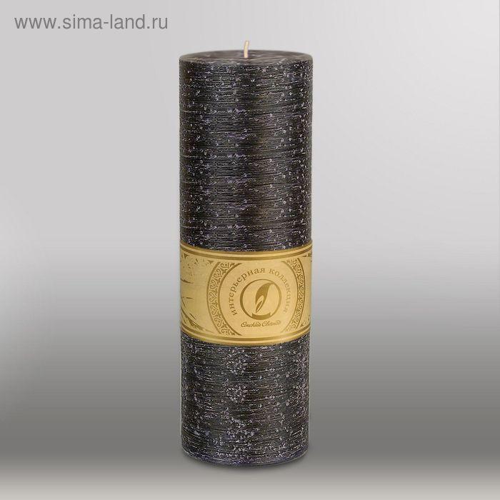 """Свеча цилиндр """"Рельеф"""", 80x255мм,  черный"""