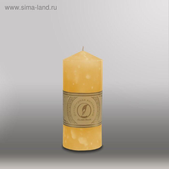 """Свеча цилиндр с конусом """"Мрамор"""", 70x155мм,  желтый"""