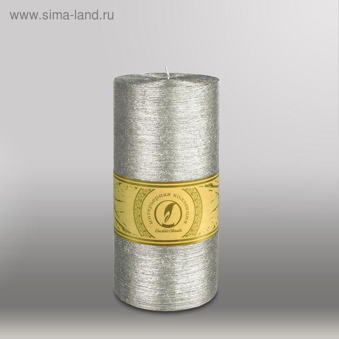 """Свеча цилиндр """"Металлик"""", 100x205мм,  серебро"""