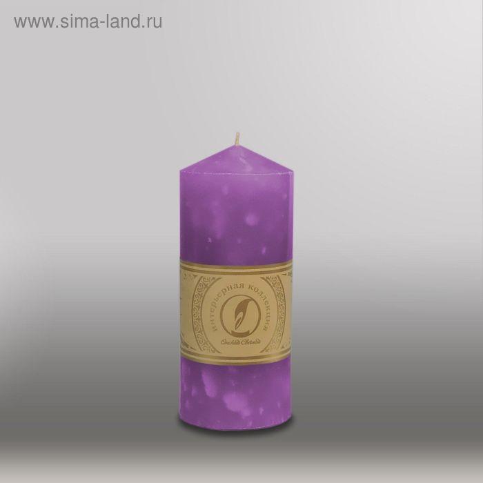 """Свеча цилиндр с конусом """"Мрамор"""", 70x155мм,  сиреневый"""