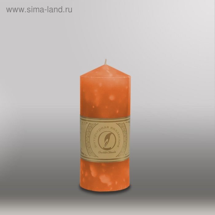 "Свеча цилиндр с конусом ""Мрамор"", 70x155мм,  облепиховый"
