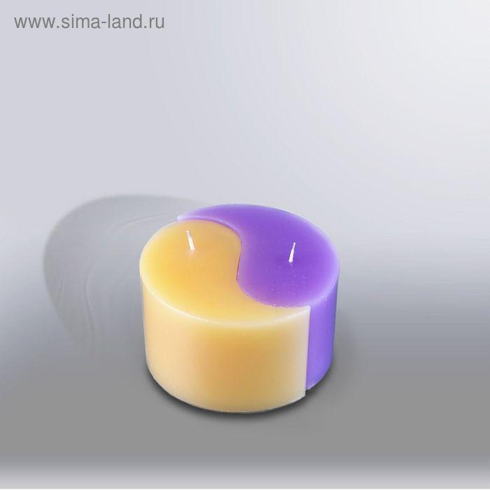 """Свеча двудольная призма Инь-Янь """"Классика"""", 125x75мм,  желтый/сирень"""