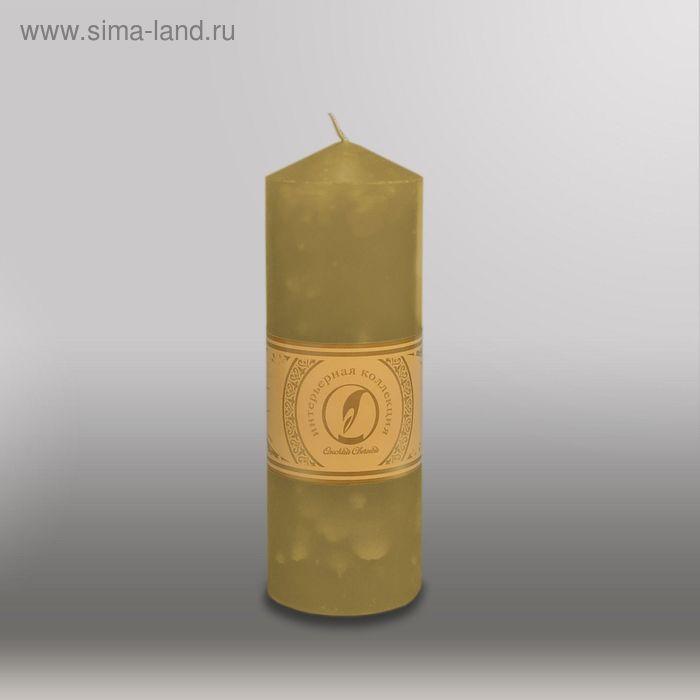 """Свеча цилиндр с конусом """"Мрамор"""", 70x200мм,  оливковый"""