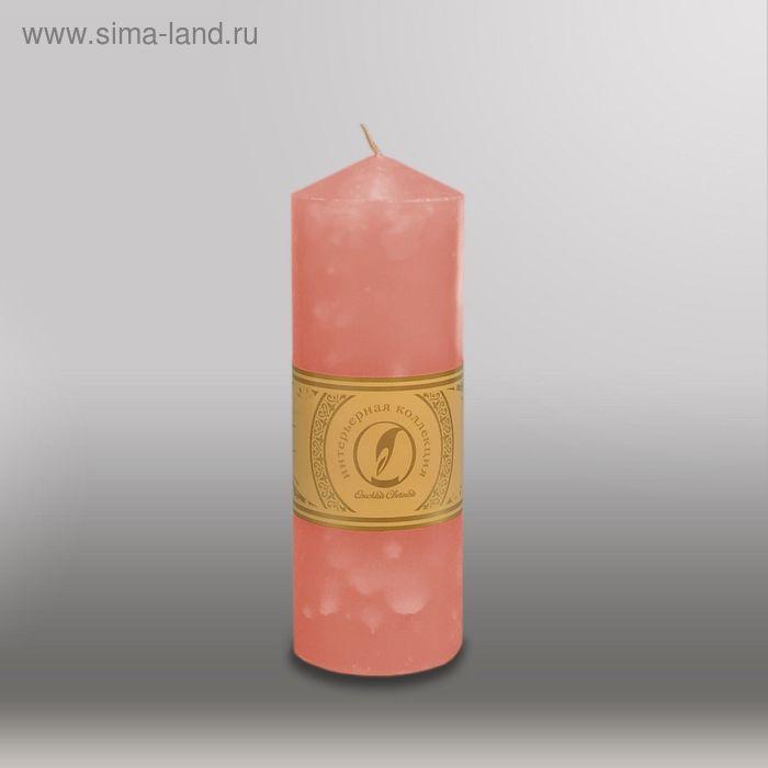 """Свеча цилиндр с конусом """"Мрамор"""", 70x200мм,  розовый"""