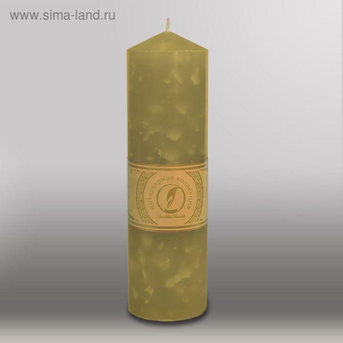 """Свеча цилиндр с конусом """"Мрамор"""", 70x250мм,  оливковый"""