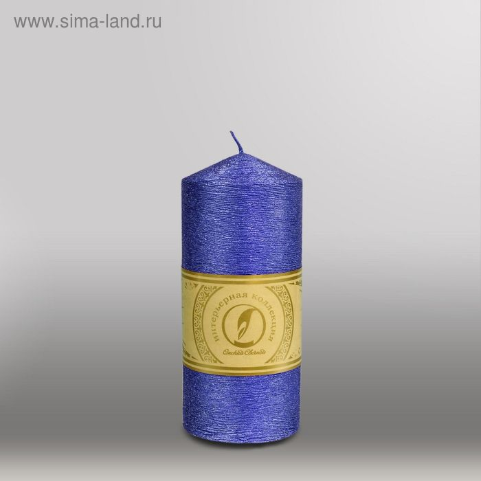 """Свеча цилиндр с конусом """"Металлик"""", 70x155мм,  темно-фиолетовый"""