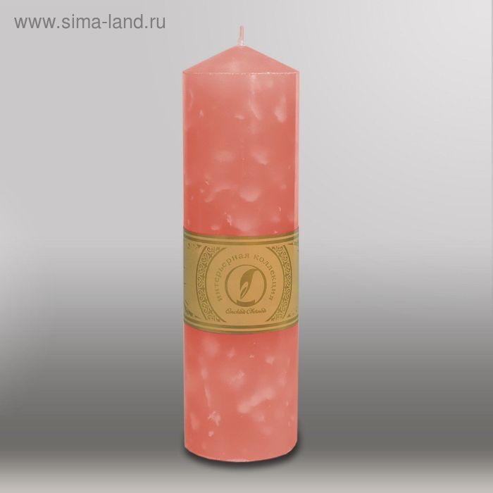 """Свеча цилиндр с конусом """"Мрамор"""", 70x250мм,  розовый"""