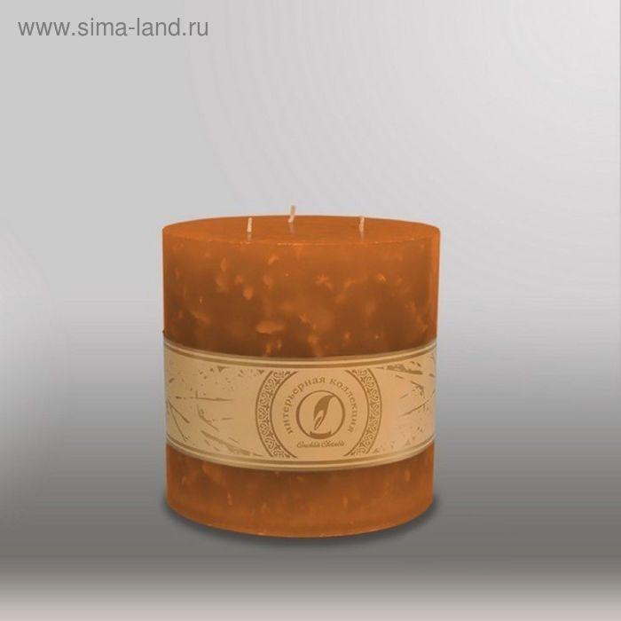 "Свеча цилиндр ""Мрамор"", 150x150мм,  3 фитиля коричневый"