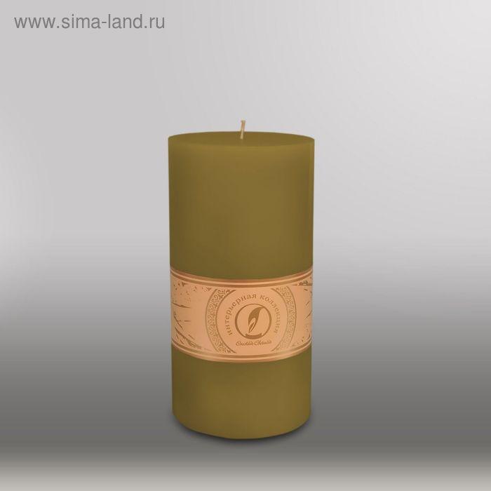 """Свеча цилиндр """"Классика"""", 100x205мм,  оливковый"""