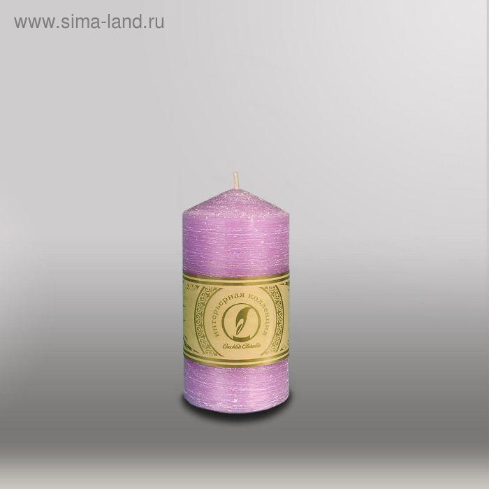 """Свеча цилиндр с конусом """"Рельеф"""", 70x127мм,  сиреневый"""