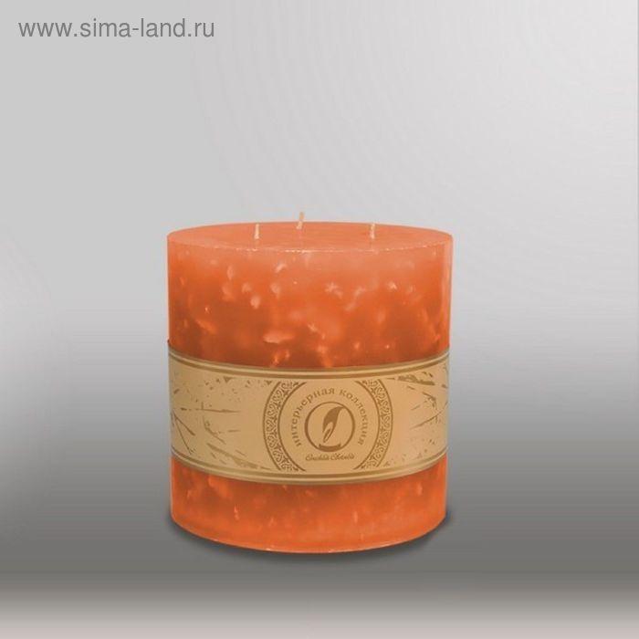 """Свеча цилиндр """"Мрамор"""", 150x150мм,  3 фитиля облепиховый"""