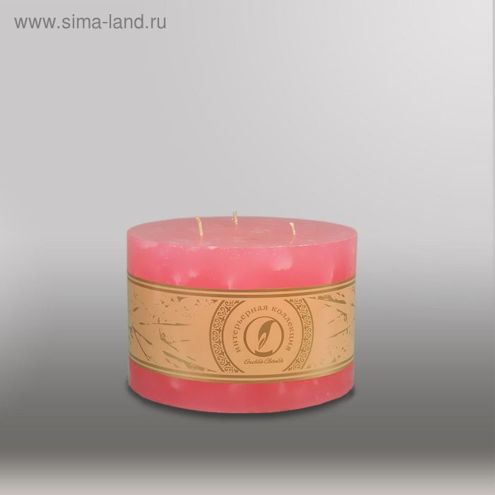 "Свеча цилиндр ""Мрамор"", 150x105мм,  3 фитиля розовый"