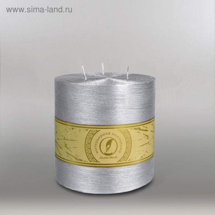 "Свеча цилиндр ""Металлик"", 150x150мм,  3 фитиля серебро"