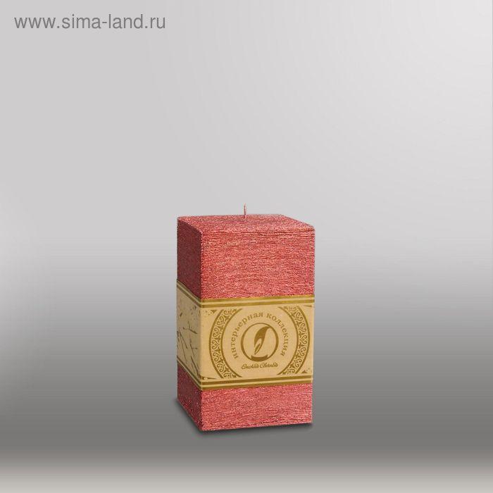 """Свеча квадратная призма """"Металлик"""", 75х75х125мм,  рубин"""