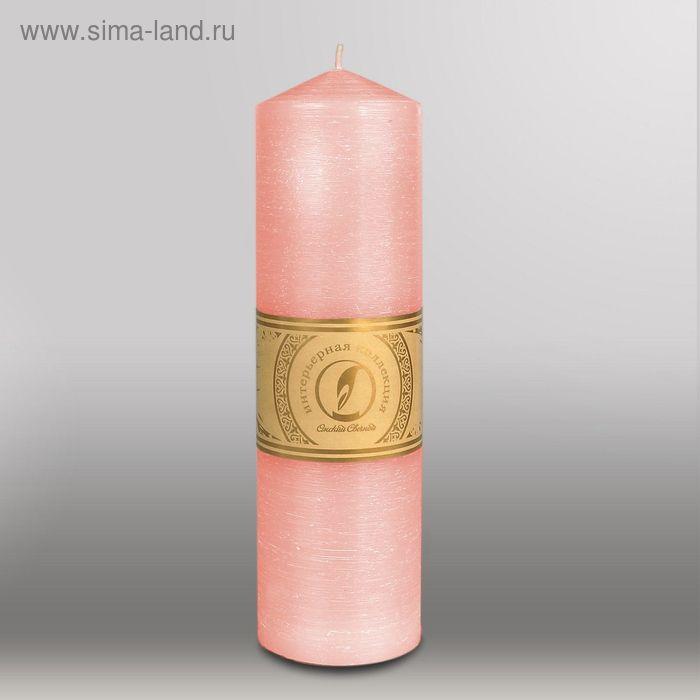 """Свеча цилиндр с конусом """"Рельеф"""", 70x250мм,  розовый"""