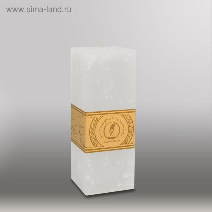 "Свеча квадратная призма ""Мрамор"", 75х75х205мм,  белый"