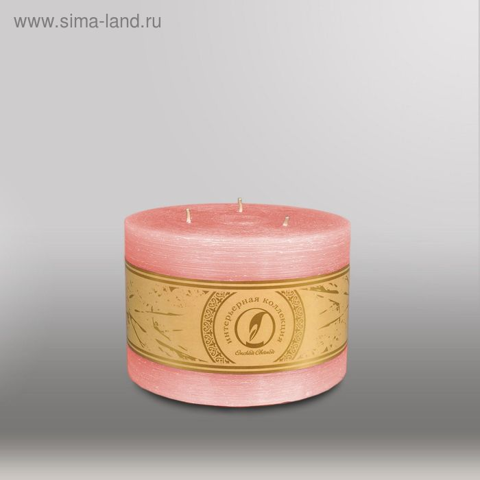 """Свеча цилиндр """"Рельеф"""", 150x105мм,  3 фитиля розовый"""