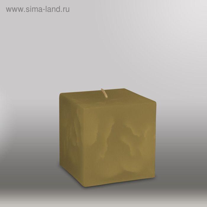 "Свеча куб ""Мрамор"", 75мм,  оливковый"
