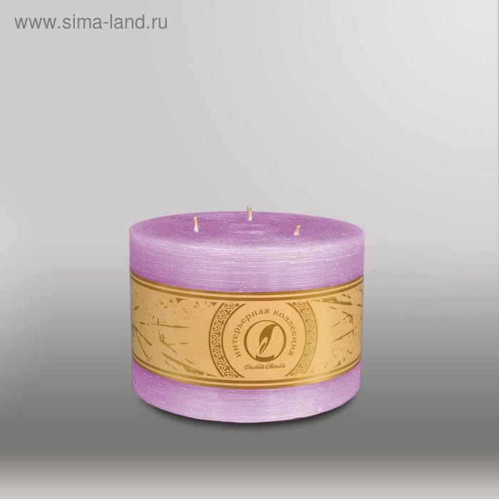 """Свеча цилиндр """"Рельеф"""", 150x105мм,  3 фитиля сиреневый"""