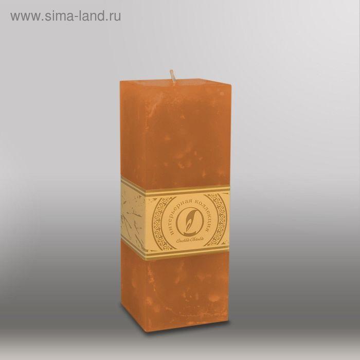 """Свеча квадратная призма """"Мрамор"""", 75х75х205мм,  коричневый"""
