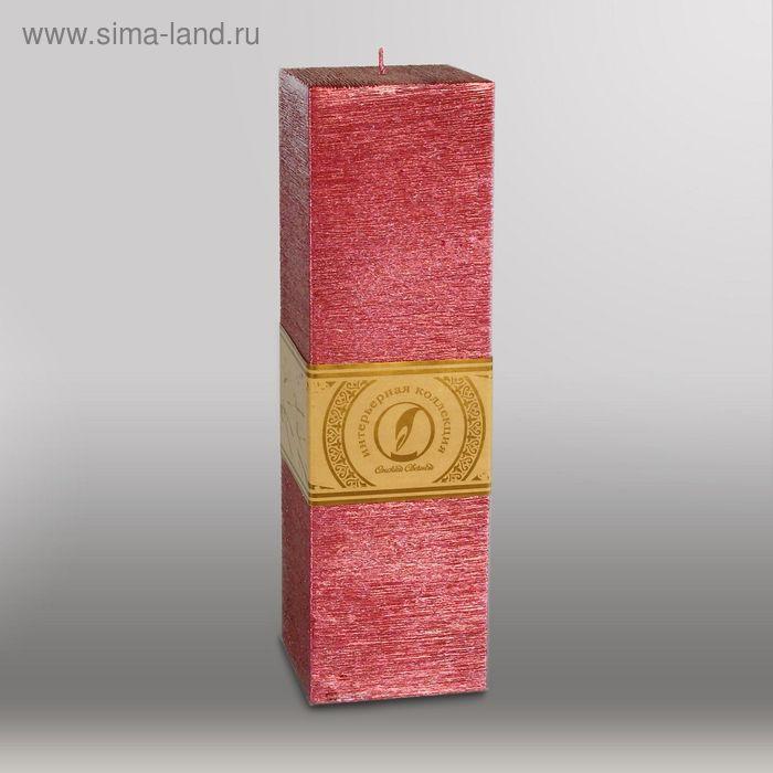 """Свеча квадратная призма """"Металлик"""", 75х75х250мм,  рубин"""