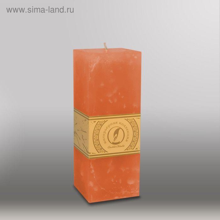 "Свеча квадратная призма ""Мрамор"", 75х75х205мм,  облепиховый"