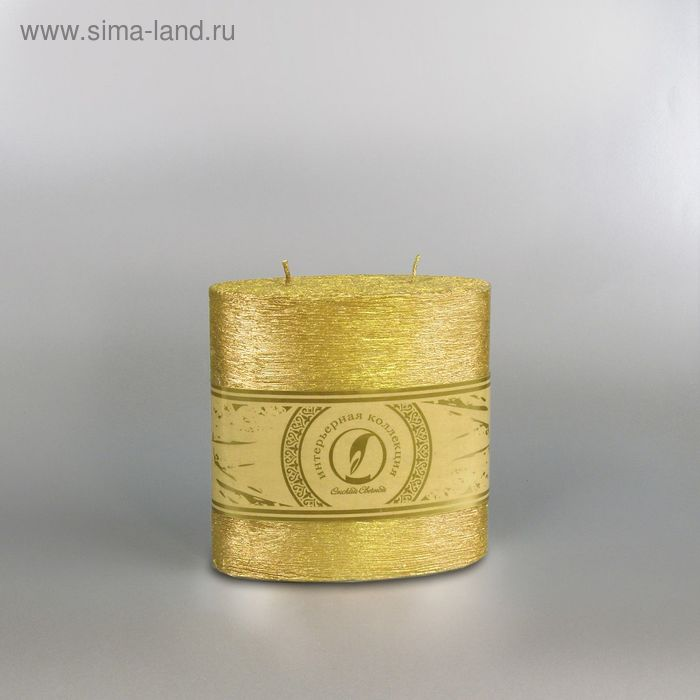 "Свеча овальная призма ""Металлик"", 125х62х125мм,  2 фитиля золото"