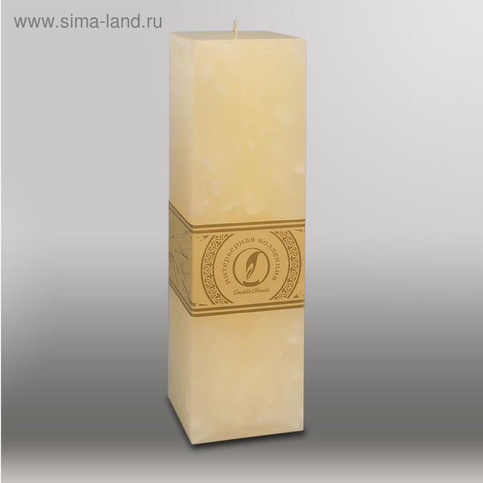 """Свеча квадратная призма """"Мрамор"""", 75х75х250мм,  кремовый"""