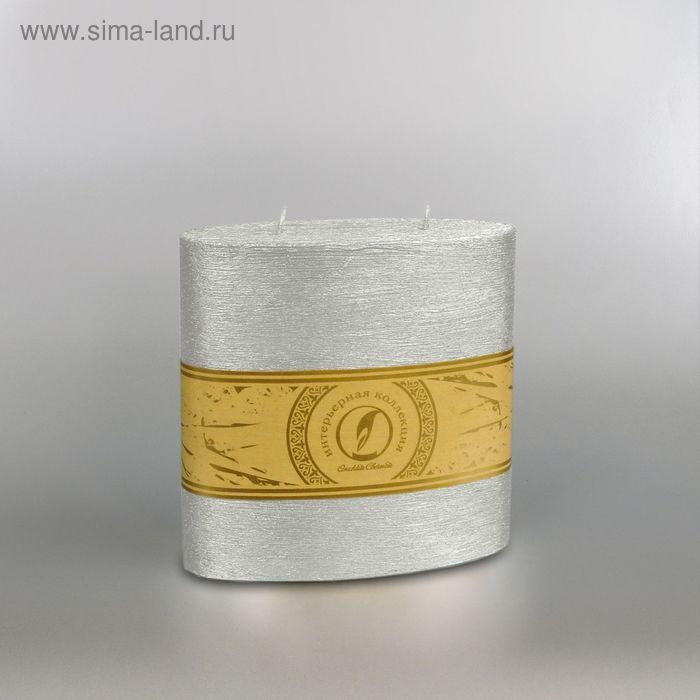 "Свеча овальная призма ""Металлик"", 150х75х150мм,  2 фитиля серебро"