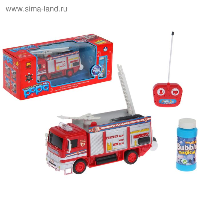 """Машина радиоуправляемая """"Пожарная служба"""", с аккумулятором, стреляет мыльными пузырями"""