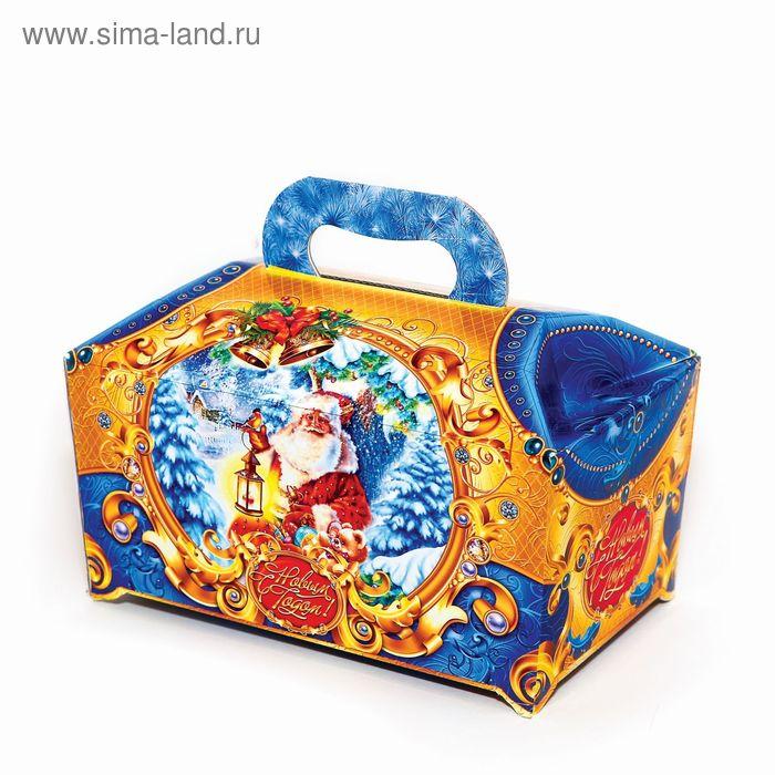"""Подарочная коробка """"Дед мороз"""", сундук синий, сборная, 25 х 15 х 15 см"""