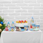 """Набор для праздника """"Новогоднего настроения!"""", Дед Мороз и цыплёнок, колпаки, тарелки, стаканы"""