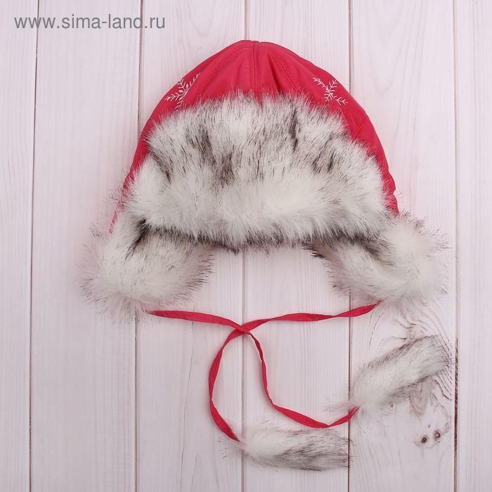 """Шапка для девочки """"Снежинка"""", размер 52, цвет брусничный (арт. 81/3-00-13_Д)"""