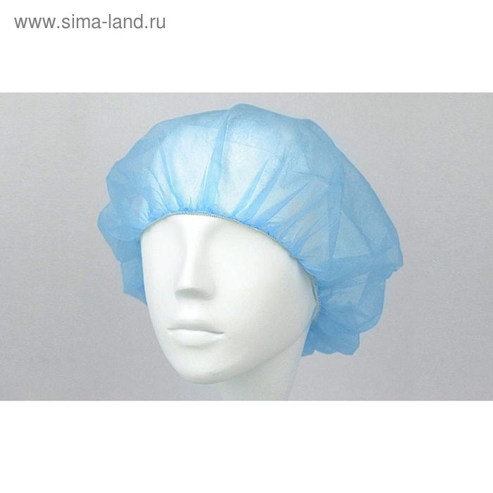 """Шапочка медицинская """"Шарлотта"""" с двумя резинками, цвет голубой, набор 100 шт"""
