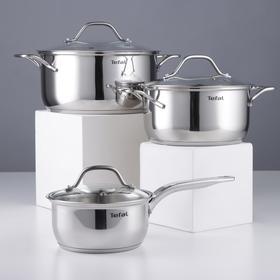 Набор посуды Intuition, 6 предметов: сотейник с крышкой, 1,3 л, кастрюли с крышкой, 2,9 л, 4,9 л, цвет хромированный
