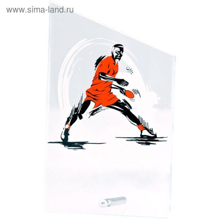 Награда стеклянная Теннис настольный 12.5*20.5 см, SG1020/PIN