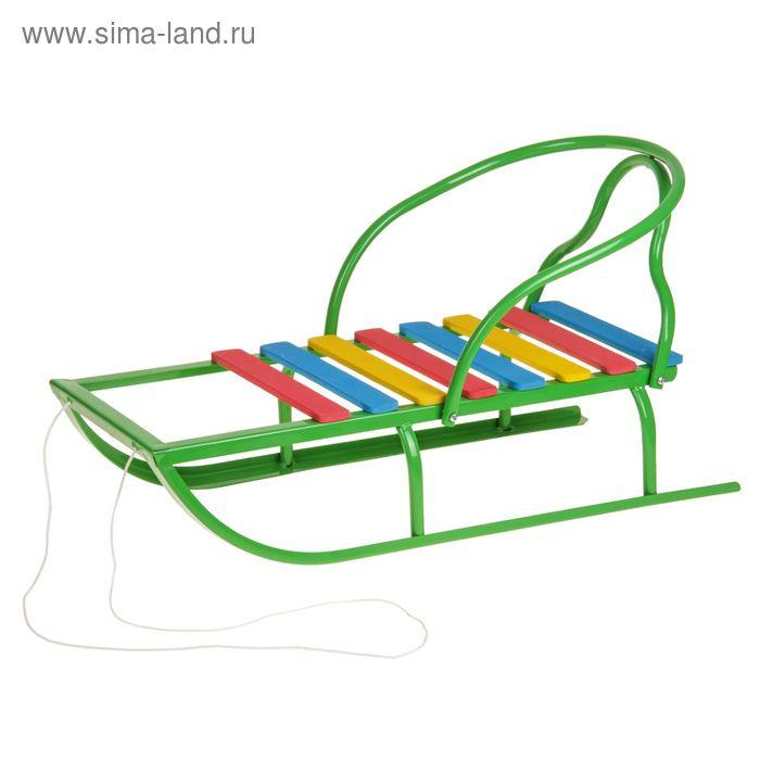 """Санки """"Вятские-2В"""" со спинкой, цвет зелёный"""
