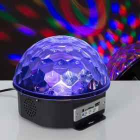 Световой прибор хрустальный шар, d=17.5 см, с музыкой, Bluetooth, 220V