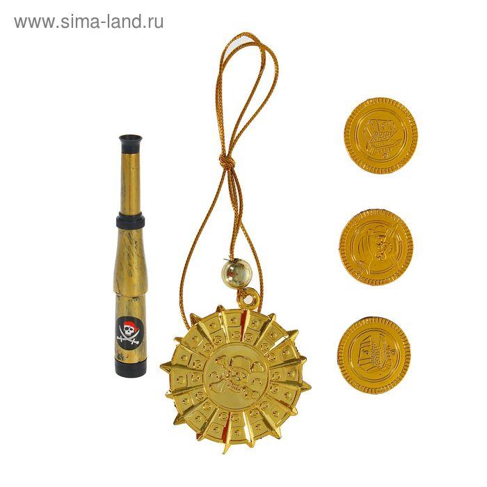 Набор пирата 5 предметов: труба, медаль, 3 монеты