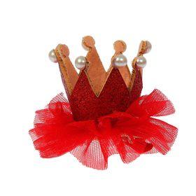 Карнавальный зажим «Корона с бусинами», цвета МИКС