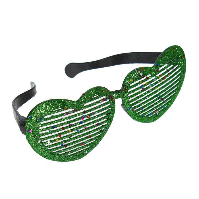 """Очки-гиганты """"Сердечки"""", блеск, цвет зелёный"""