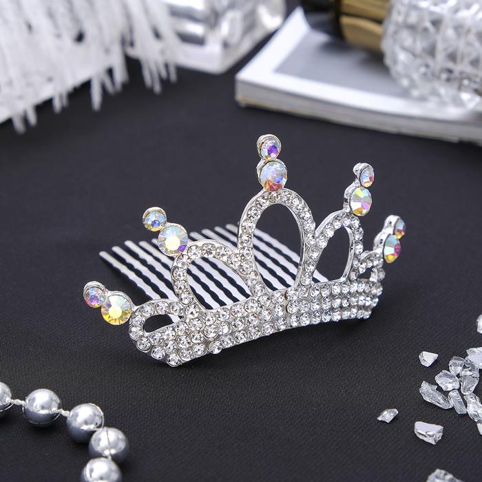 """Диадема для волос """"Королевская особа"""" 4*8 см кристаллы"""