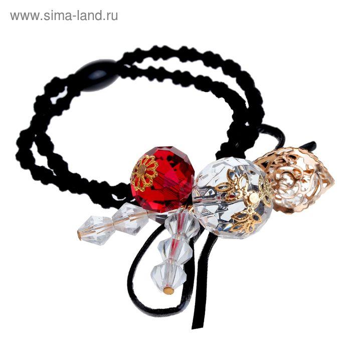 """Резинка для волос """"Богемия"""" кристаллы и цветы"""