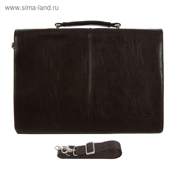 Портфель мужской, 5 отделов, 2 наружных кармана, длинный ремень, коричневый