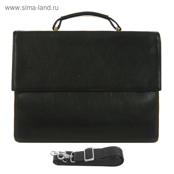 Портфель мужской, 5 отделов, 2 наружных кармана, длинный ремень, чёрный
