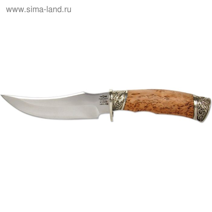 Нож нескладной кованая сталь КОРШУН (8639)к, рукоять-карельская береза, сталь Х12МФ