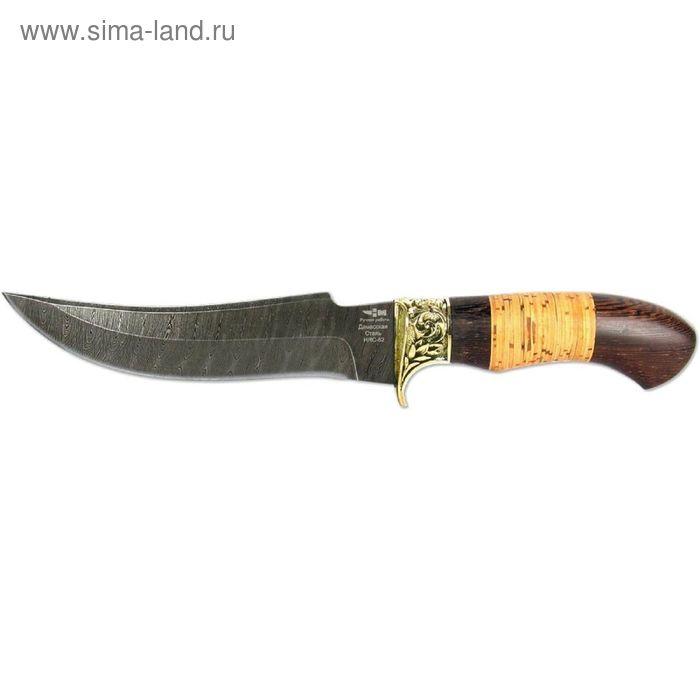 Нож нескладной ПИРАНЬЯ (2353)д, рукоять-венге/береста, дамасская сталь