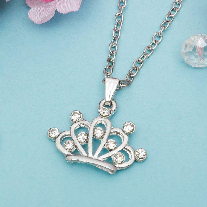 """Кулон """"Выбражулька"""" корона, цвет белый в серебре"""